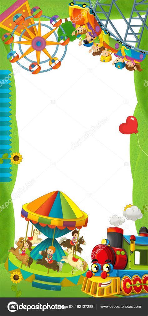 Tipos de dibujos y elementos que utiliza. Fotos: juegos de feria   Feria de dibujos animados locomotora - juegos — Foto de stock ...