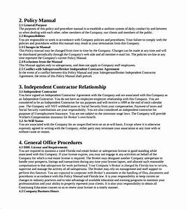 Sample Office Manual Templates  U2013 9  Free   Examples