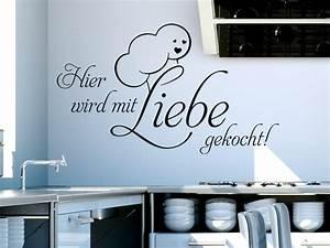 Wandtattoo Sprüche Küche : wandtattoo hier wird mit liebe gekocht wandtattoo de ~ Frokenaadalensverden.com Haus und Dekorationen
