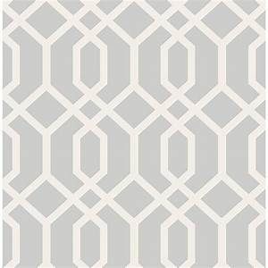 Brewster Trellis Grey Montauk Wallpaper Sample