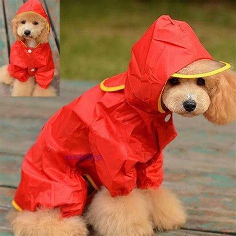 winter waterproof pet dog hooded raincoat slicker dust
