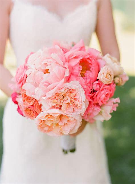 Blush Pink And Peach Peonies Wedding Bouquet Deer Pearl