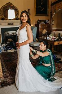 A vibrant indian ceremony and elegant english fusion for Indian fusion wedding dress