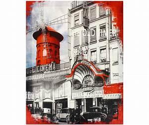 tableau toile paris vintage moulin rouge avenue retro With affiche chambre bébé avec fleur de douche gommage