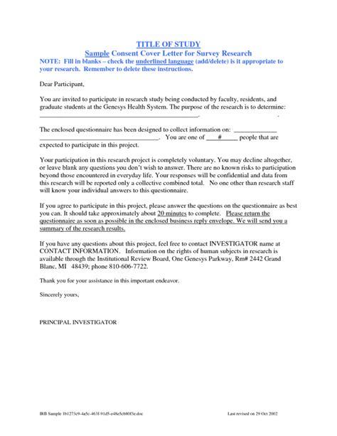 Cover Letter For Questionnaire Surveys by Patient Survey Cover Letter Sle Cover Letter