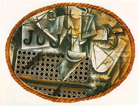 still life with wicker chair picasso 1910s art wallpaper