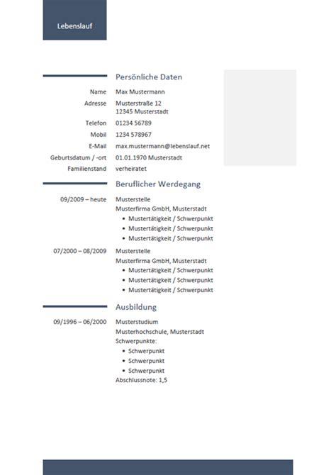 Tabellarischer Lebenslauf Vorlage Word by Kostenlose Lebenslauf Vorlage F 252 R Word Schnell Und