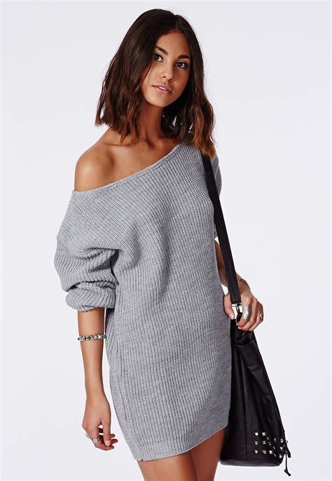 gray sweater dress ayvan shoulder knitted sweater dress grey dresses