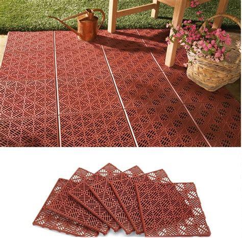 6 interlocking outdoor patio flooring tile set