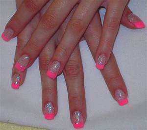 Neon Pink Glitter Acrylic Tips - Nail Art Archive - Style ...