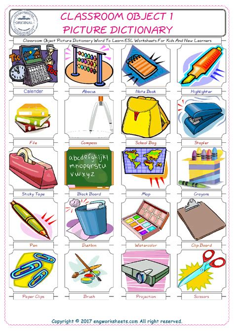 classroom object english worksheet  kids esl printable