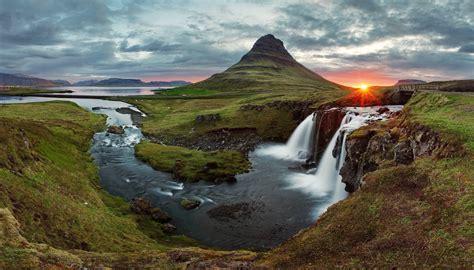Nature Sunset Iceland Waterfall Kirkjufell Wallpapers