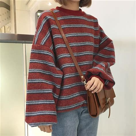 ItGirl Shop|VINTAGE RETRO WOOL KNIT STRIPES OVERSIZED O-NECK SWEATERS