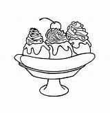 Coloring Dessert Banana Split Splits Outline Template Results Days sketch template