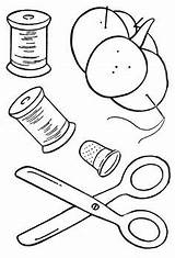 Colouring Sewing Coloring Pages Drawing Spools Thread Machine Para Quilting Tutorials Quilt Books Basketful Designs Needles Moldes sketch template
