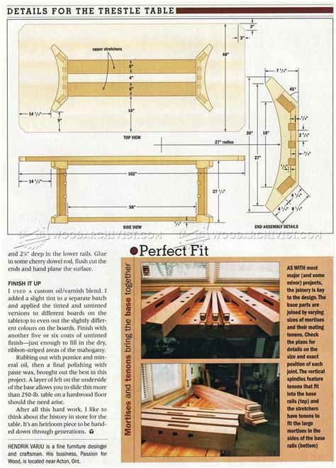 trestle table plans woodarchivist