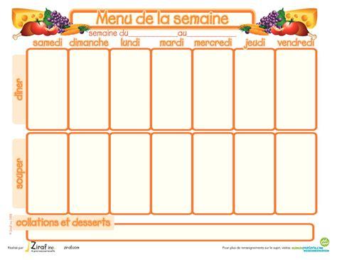 cuisiner pour la semaine modèle de menu de la semaine à imprimer planning de repas