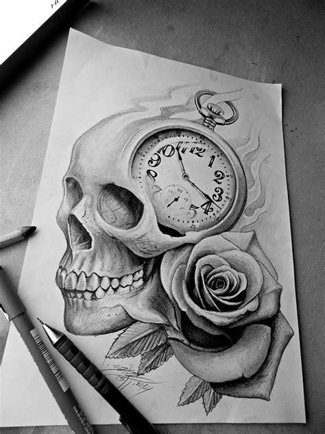 skull rose clock tattoo design random tattoos tattoo drawings skull rose tattoos