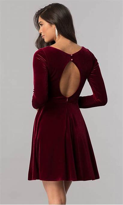 Velvet Short Homecoming Sleeves Dresses Sleeve Burgundy