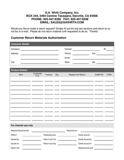 Rma Request Form Template by Ga Wirth Returns