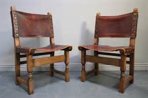 set of six antique oak leather dining chairs antiques