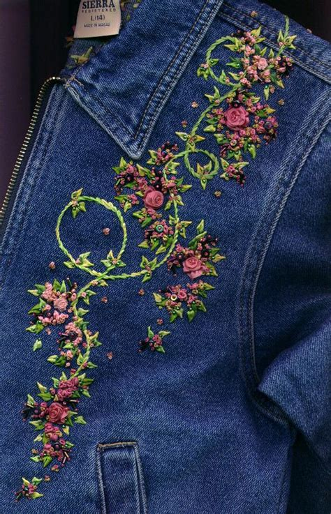 jeans embroidery hand denim jackets jacket diy decor patterns designs embroidered shirt machine clothes diverse ribbon ana rosa simple craft