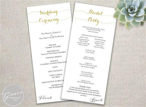 wedding program template text gold wedding programs script calligraphy style diy instant printable