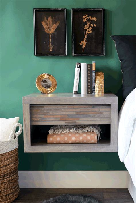 modern gray floating nightstand wall mount night stand