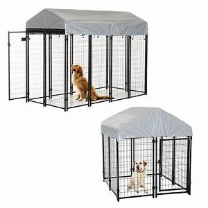 Outdoor dog kennel house crate cage enclosure anti uv roof for Dog kennel enclosure