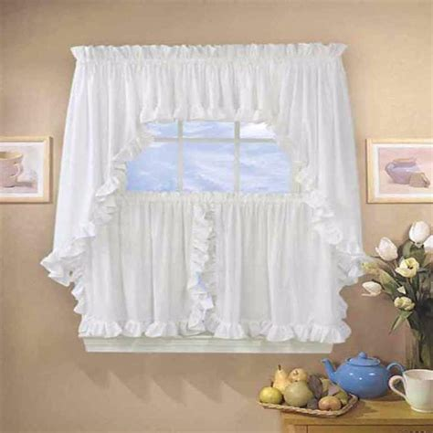 classic cape cod ruffled kitchen valance swags and tier