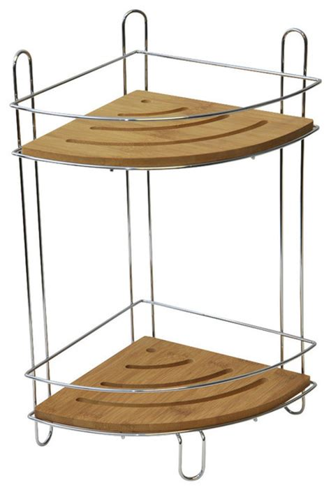 freestanding corner shower caddy with bamboo shelves