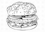 Hamburger Clipart Vector Outline Coloring Silhouette Drawn Cliparts Illustration Clip Steak Library Hamburgers Detailed Hand Contour sketch template
