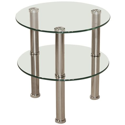 small glass side table chrome glass round end l small side coffee table