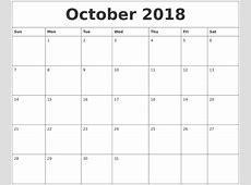 Editable Calendar October 2018 rudycobynet