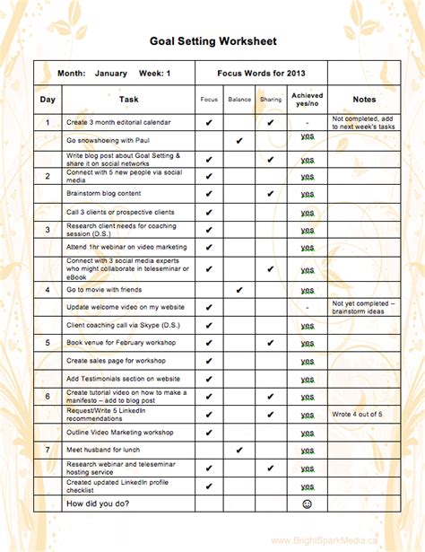 goal setting template excel amazingly successful 2013 goal setting worksheet and manifesto 171 bright spark media social