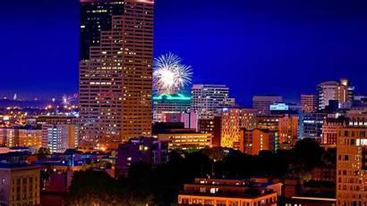 Portland Oregon Night Fireworks Skyline Feuerwerk Hintergrundbilder