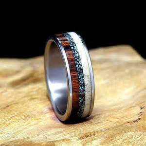 antler wedding rings titanium wedding band or ring desert ironwood deer antler turquoise i