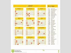 Simple Calendar 2017 Marked With The Official Holidays For