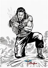 Roman Reigns Wwe Coloring Aj Template Reings Seth Rollins Reign Sketch Dibujo Kalisto Shield Orlyn Ambrose Dean Romans Romen sketch template