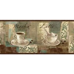 Themed kitchen décor can range from cups or plates that are decorated to fit a theme, right on up through curtains, tablecloths and window curtains. Coffee Wallpaper Borders for Kitchen | Spa Blue Coffee Ornament Wallpaper Border Home Kitchen ...