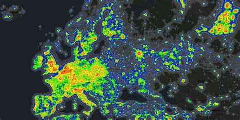 pollution map light pollution around the world brilliant maps Light