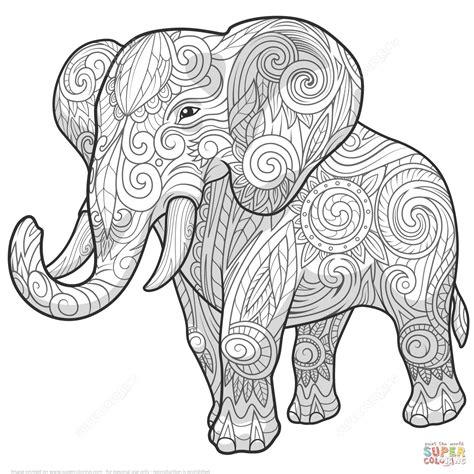 zentangle coloring pages elephant ethnic zentangle