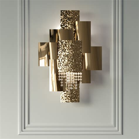 italian designer gold plated geometric crystal wall light