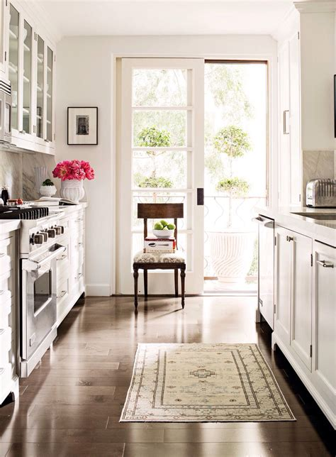 galley kitchen vintage persian rug french door