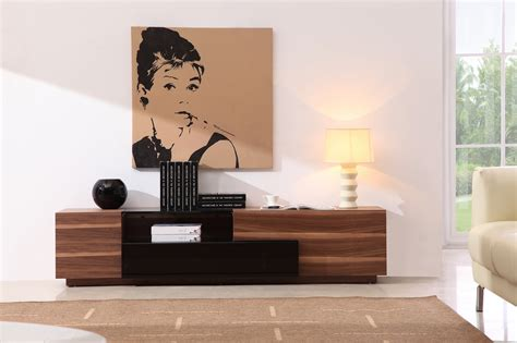 Furniture Exotic Wood Mid Century Modern Console Table