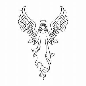 black and white angel clipart - Clipground