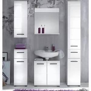 Meuble Haut Toilette : meuble haut salle de de bain skin blanc brilliant achat ~ Dallasstarsshop.com Idées de Décoration