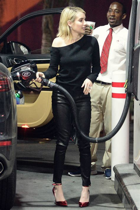 emma roberts heading   girls night leather celebrities