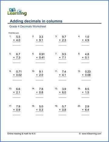 Grade 4 Decimals Worksheets  Free & Printable  K5 Learning