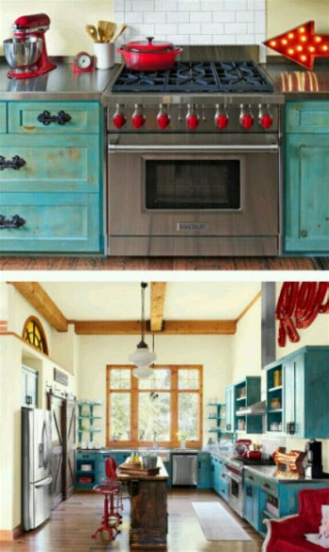 pin  diva rose  red apple turquoise kitchen